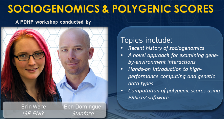 2021 PDHP Workshop: Sociogenomics and Polygenic Scores, co-presented by Ben Domingue and Erin Ware